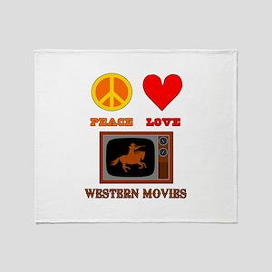 Peace Love Western Movies Throw Blanket