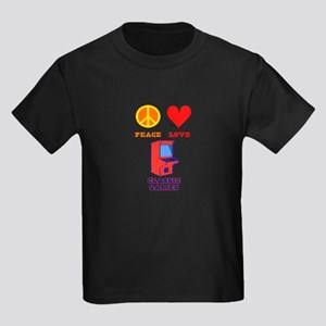 Peace Love Classic Games Kids Dark T-Shirt