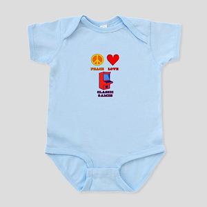 Peace Love Classic Games Infant Bodysuit