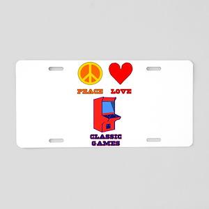 Peace Love Classic Games Aluminum License Plate