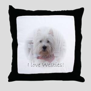 I love westies Throw Pillow