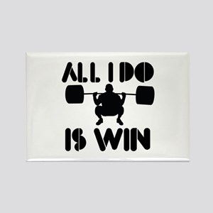 All I do is Win Powerlifter Rectangle Magnet