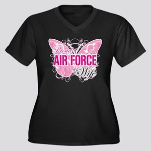 Proud Air Force Wife Women's Plus Size V-Neck Dark