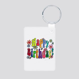 Happy Birthday Aluminum Photo Keychain