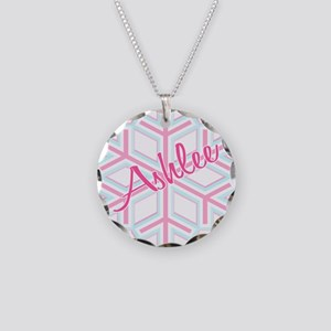 Ashlee Snowflake Personalized Necklace Circle Char