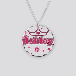 Ashley Princess Crown Star Necklace Circle Charm