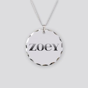 Zoey Carved Metal Necklace Circle Charm