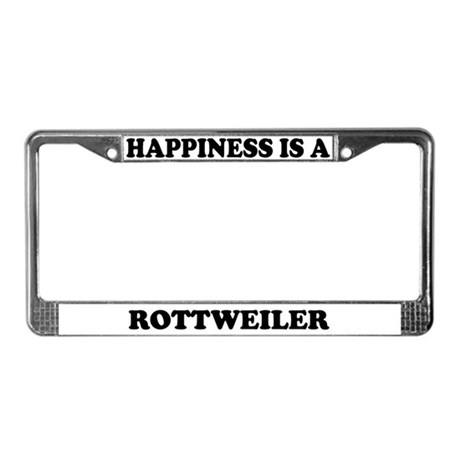 Happiness Is A Rottweiler License Plate Frame
