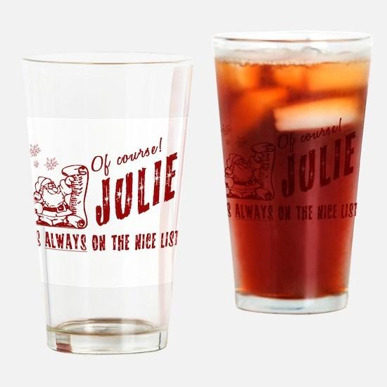 Nice List Julie Christmas Drinking Glass