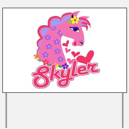 Skyler Loves Ponies Yard Sign