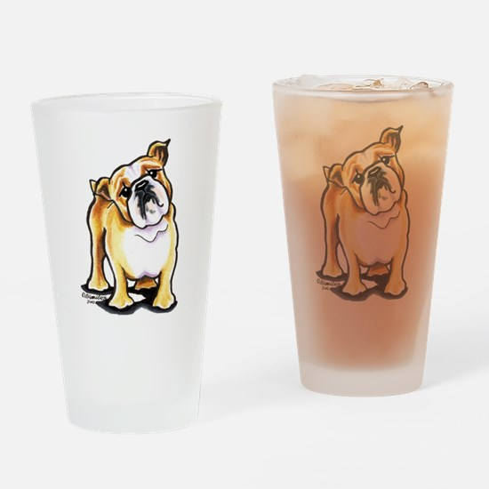Fawn White Bulldog Drinking Glass