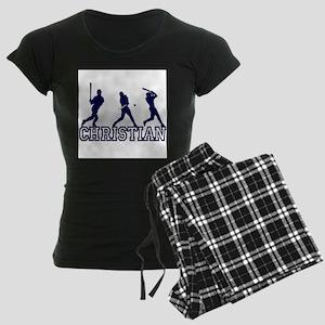 Baseball Christian Personaliz Women's Dark Pajamas