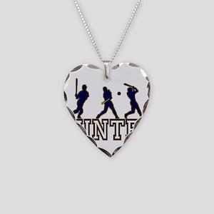 Baseball Hunter Personalized Necklace Heart Charm