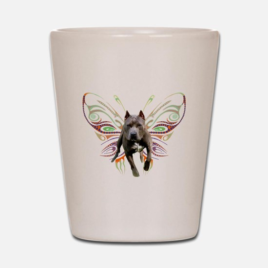 Pit Bull Butterfly Art Shot Glass