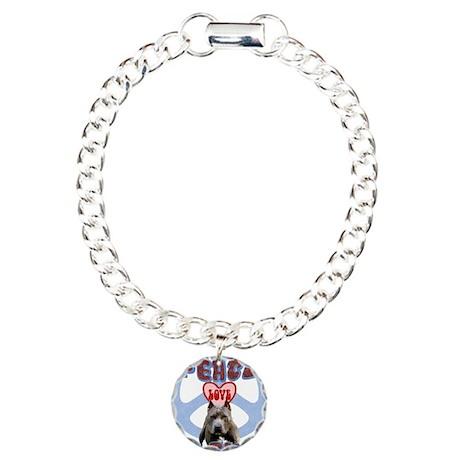 PEACE LOVE and PITBULLS Charm Bracelet, One Charm