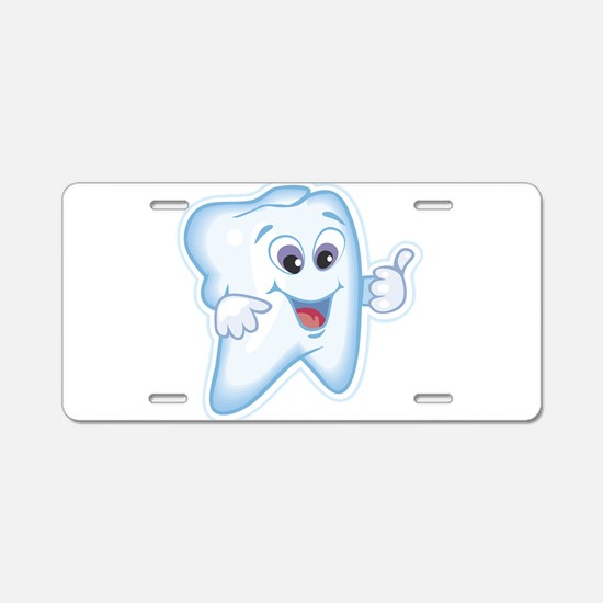 Healthy Happy Tooth Aluminum License Plate