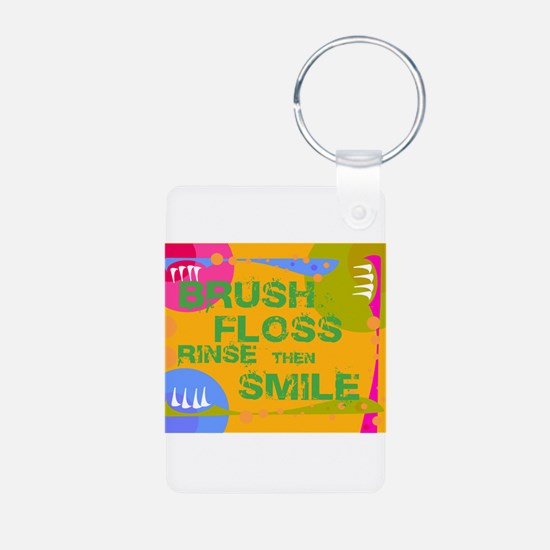 Brush Floss Rinse Smile Keychains