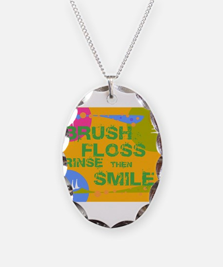 Brush Floss Rinse Smile Necklace