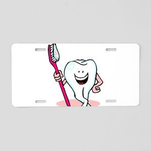 Happy Tooth & Brush Aluminum License Plate
