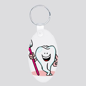 Happy Tooth & Brush Aluminum Oval Keychain