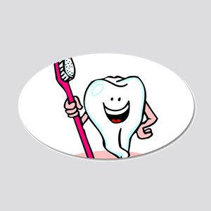 Happy Tooth & Brush 22x14 Oval Wall Peel