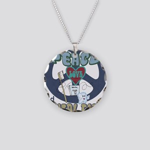 Peace Love And Dental Floss Necklace Circle Charm