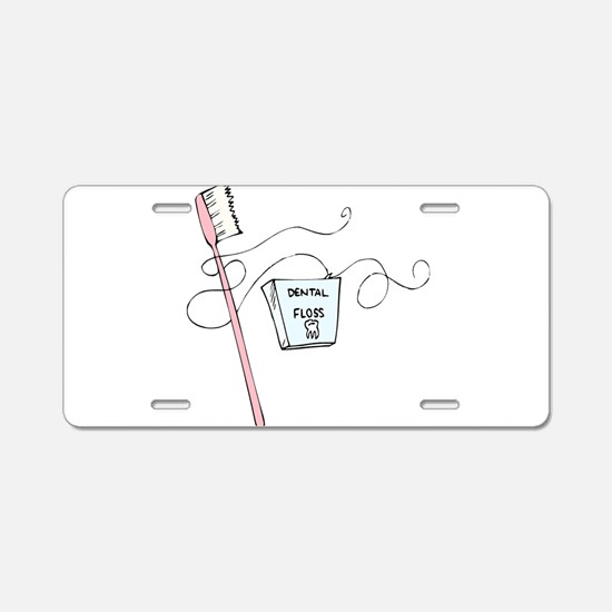 Brush And Floss Dentist Aluminum License Plate