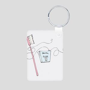 Brush And Floss Dentist Aluminum Photo Keychain