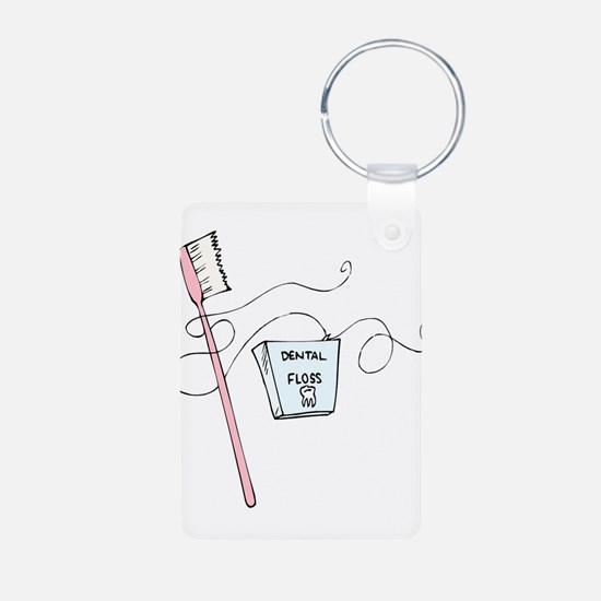 Brush And Floss Dentist Keychains
