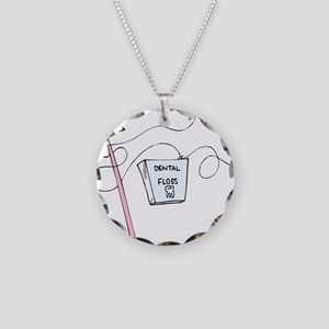 Brush And Floss Dentist Necklace Circle Charm