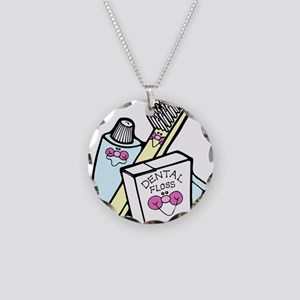 Toothbrush Toothpaste Floss Necklace Circle Charm