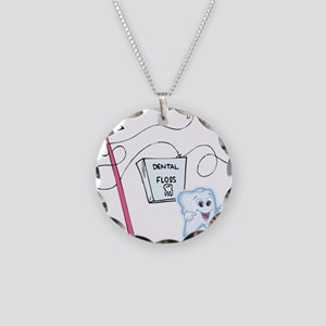 Healthy Tooth Brush and Floss Necklace Circle Char