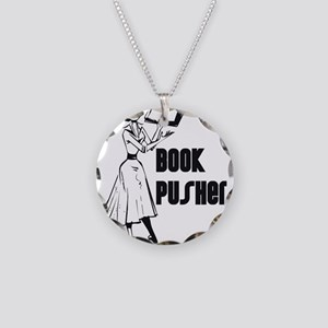 Book Pusher Necklace Circle Charm