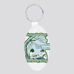 No Substitute For Books Aluminum Oval Keychain