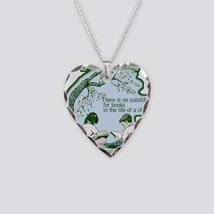 No Substitute For Books Necklace Heart Charm
