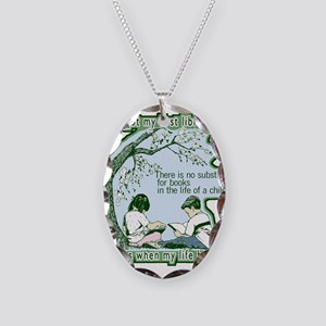 No Substitute For Books Necklace Oval Charm