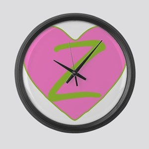 Pink Heart Monogram Initial Z Large Wall Clock