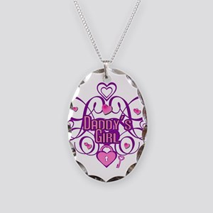Daddy's Girl Pink/Fuschia Necklace Oval Charm