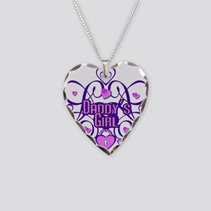 Daddy's Girl Purple/Pink Necklace Heart Charm