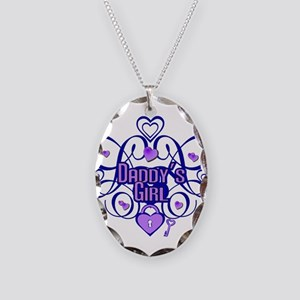 Daddy's Girl Blue/Lavender Necklace Oval Charm