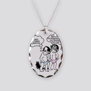 Poor Dad! Necklace Oval Charm