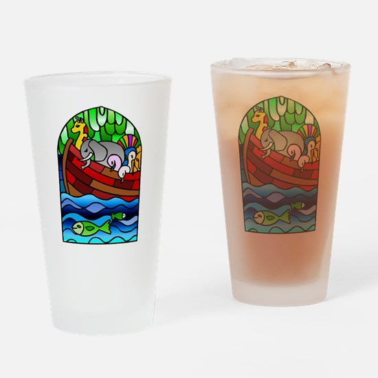 Noah's Ark Stained Glass Drinking Glass