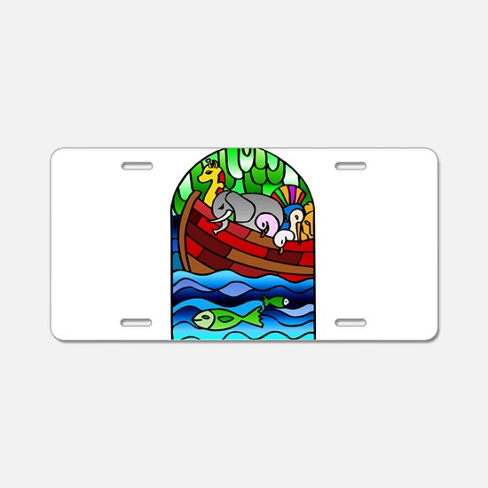 Noah's Ark Stained Glass Aluminum License Plate