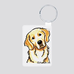 Golden Retriever Portrait Aluminum Photo Keychain
