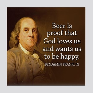 Ben Franklin BEER Quote Coaster