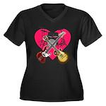 kuuma band 1 Women's Plus Size V-Neck Dark T-Shirt