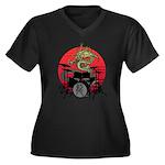 kuuma dragon drum 1 Women's Plus Size V-Neck Dark
