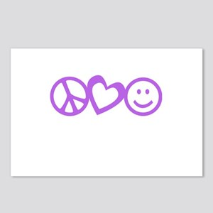 Peace Love Happy Face Purple Postcards (Package of