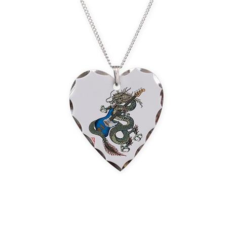 dragon bass Necklace Heart Charm