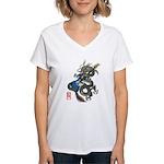 dragon bass Women's V-Neck T-Shirt